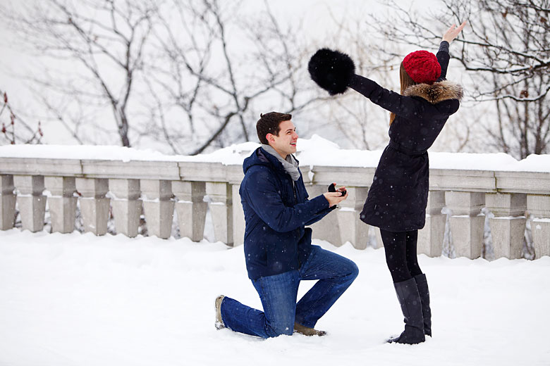 Christmastime Proposal with Christmas Winter Snow