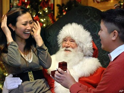 Christmastime Proposal with Santa