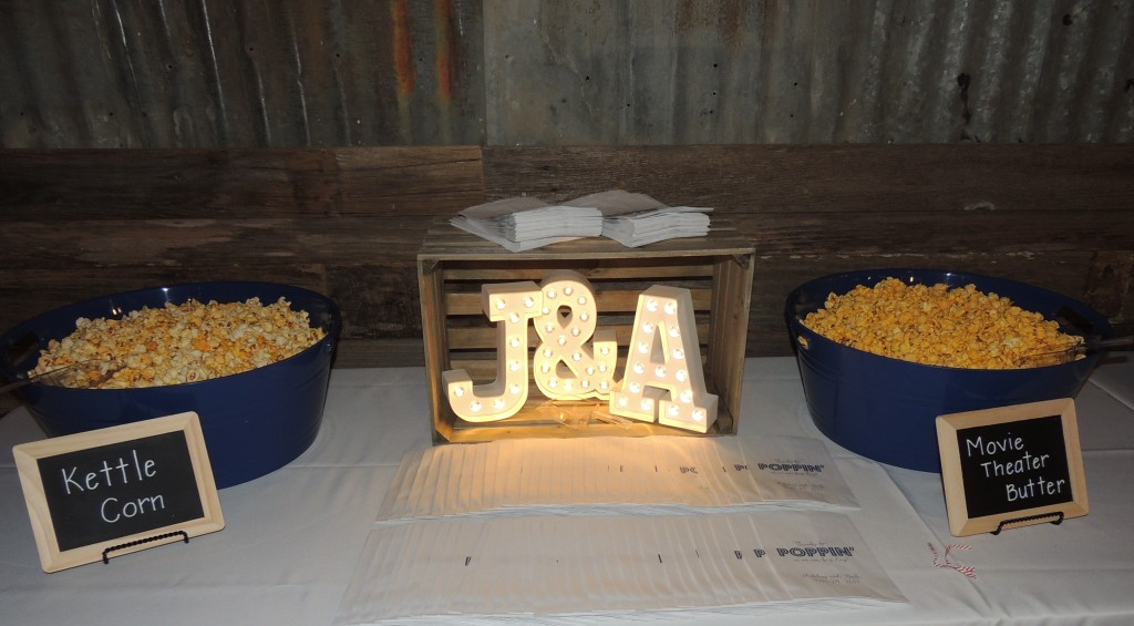 Tirzah Central Texas Wedding Josh and Ashley Champ Reception Appetizer Popcorn