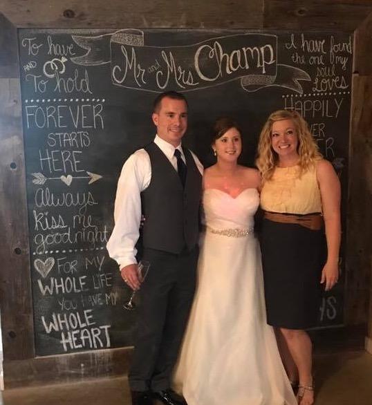 Tirzah Central Texas Wedding Josh and Ashley Champ Rustic Acres Chalkboard Wall