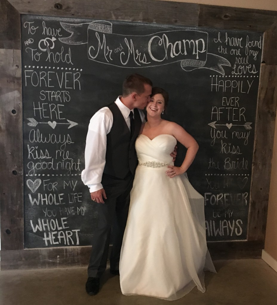 Tirzah Central Texas Wedding Josh and Ashley Champ Rustic Acres Chalkboard Wall