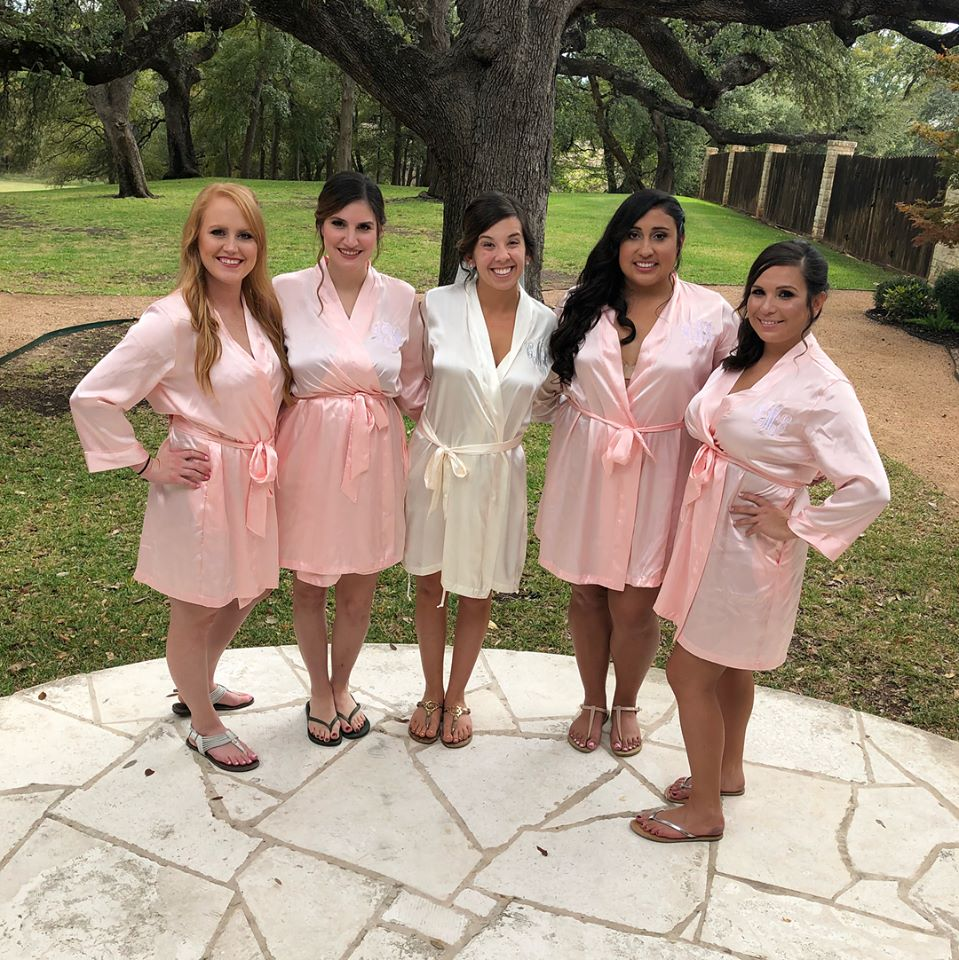 Weddings by Tirzah Central Texas Wedding Josh and Christine Marin Wedding Bridesmaids Bathrobes