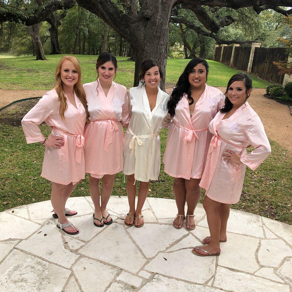 Weddings by Tirzah Central Texas Wedding Josh and Christine Marin Wedding Bridesmaids Bathrobes