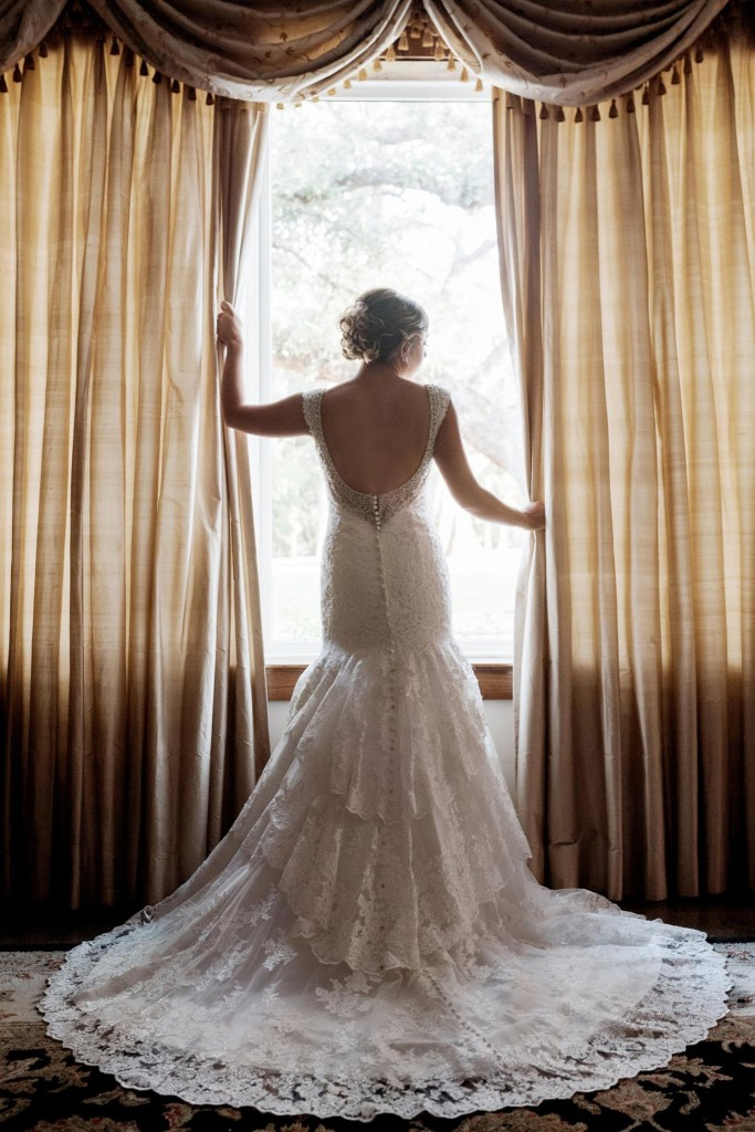 Cathedral Oaks Bridal Portrait Back of Wedding Dress - Weddings by Tirzah