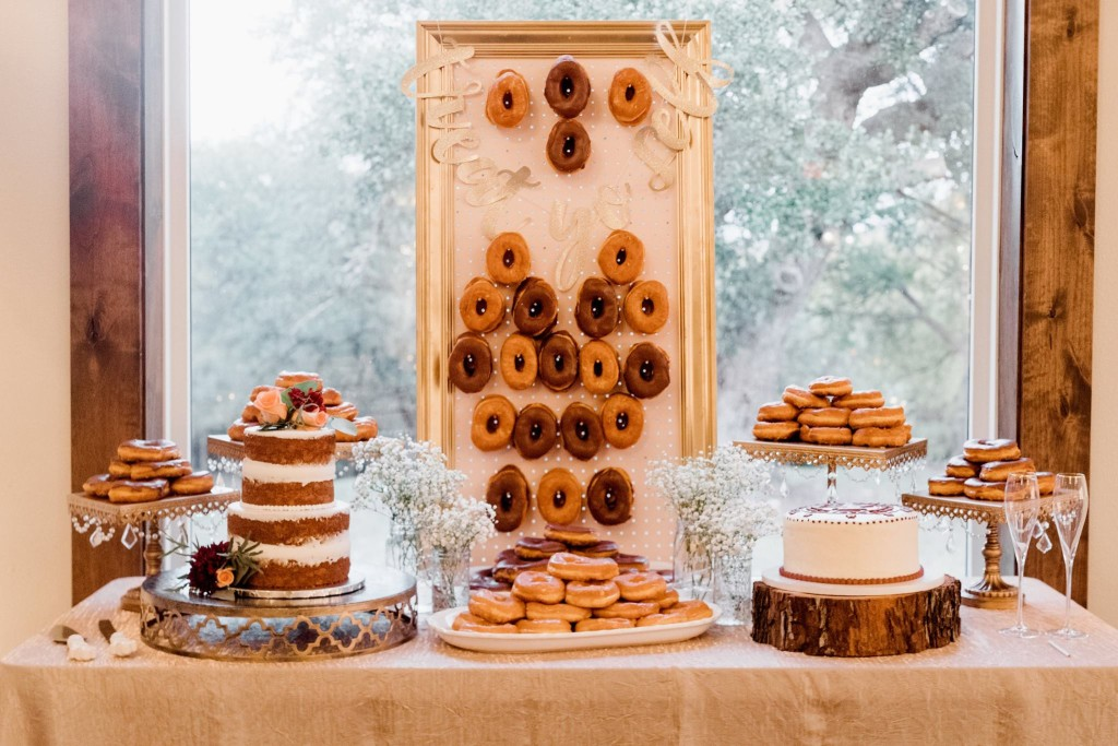 Dessert Table with Donut Wall - Donuts Designed by Tirzah