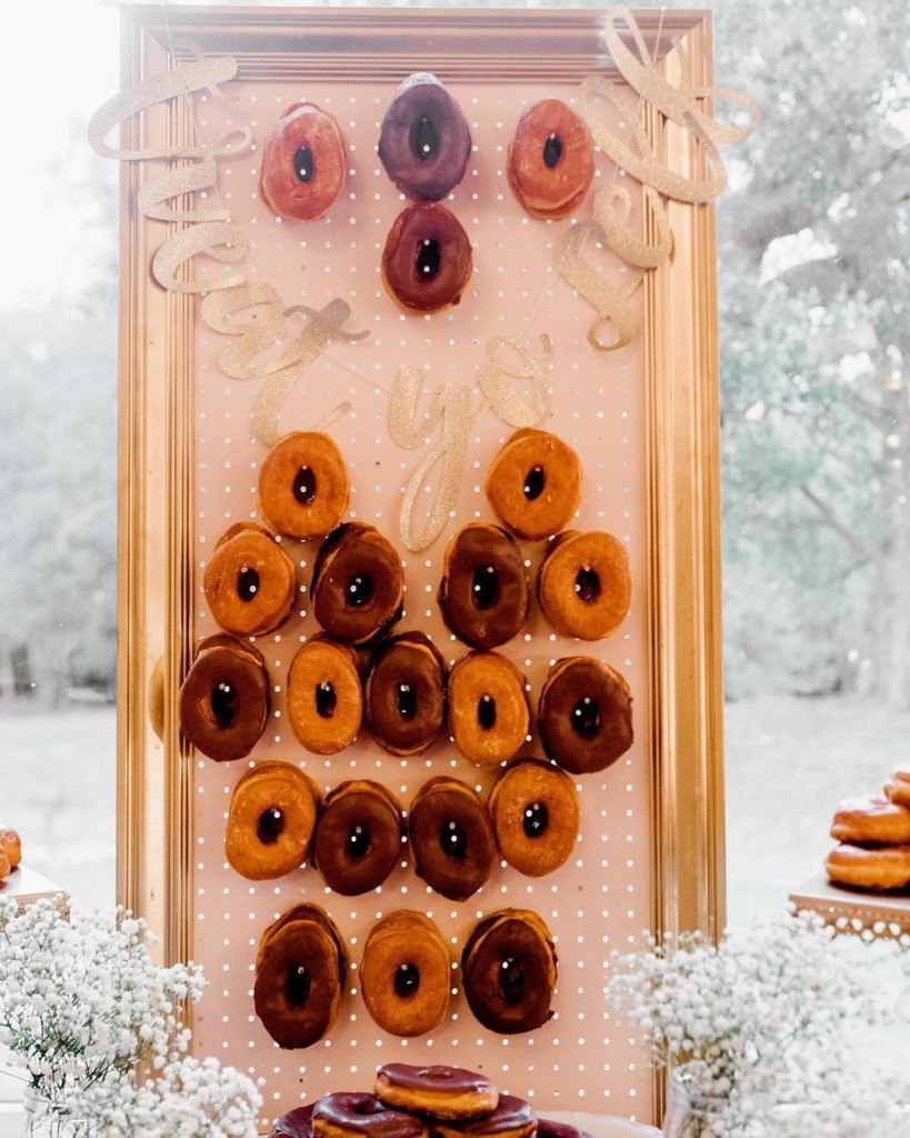 Dreaming of our perfect donut wall - Dessert Table with Donut Wall - Donuts Designed by Tirzah