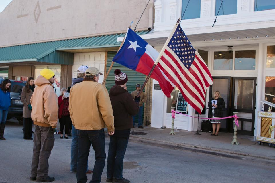 Tirzah Ribbon Cutting - Boy Scouts Flag - N East Street Belton Texas
