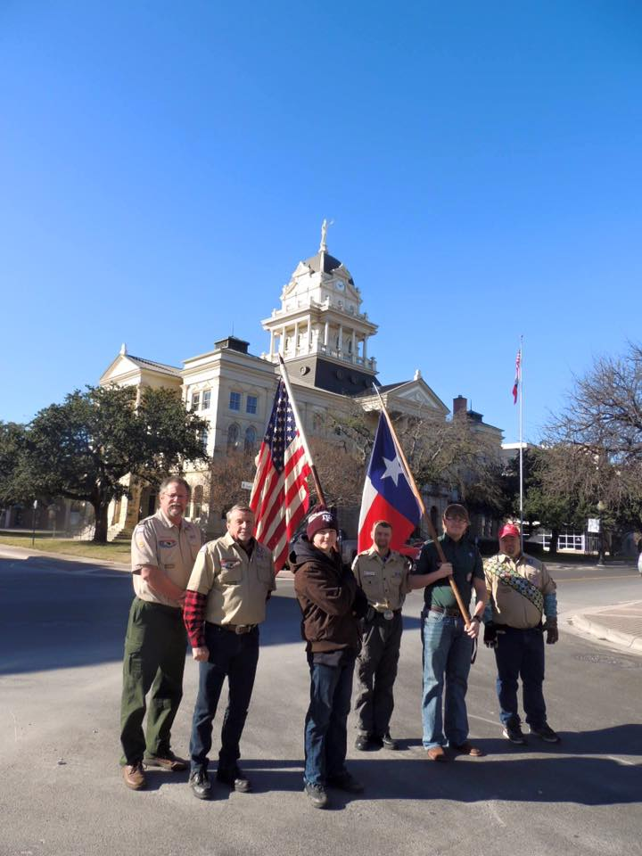 Tirzah Ribbon Cutting Ceremony - Boy Scouts in front of Courthouse Belton Texas