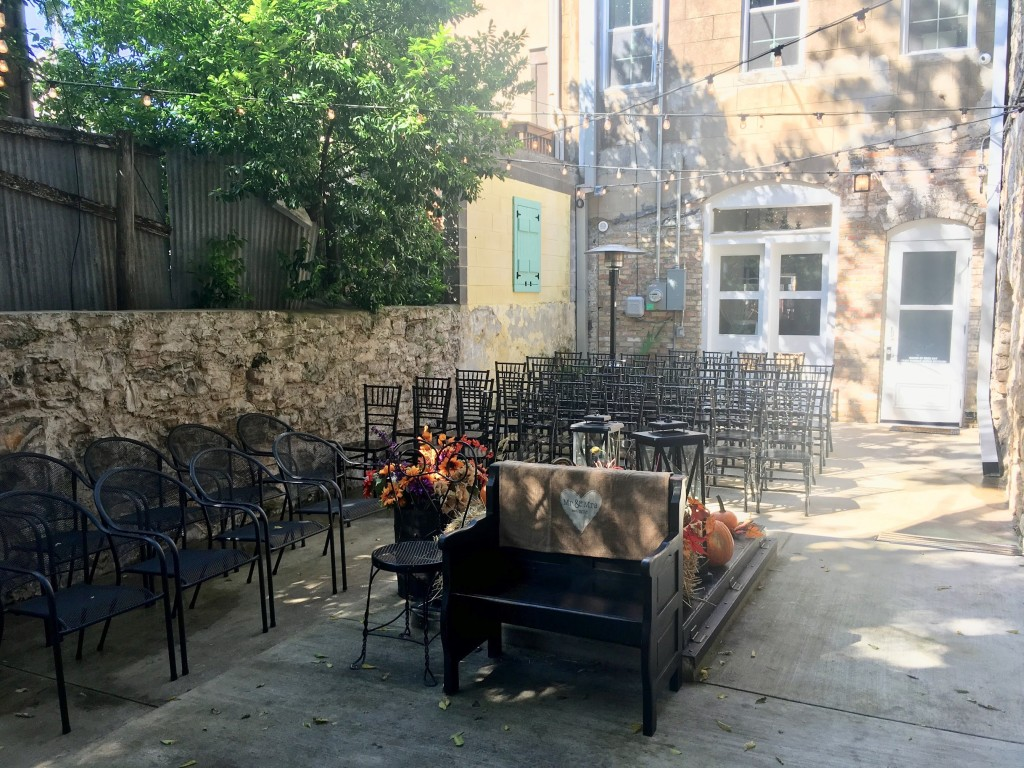 Mike and Montie's Wedding - Courtyard Seating for the Wedding Ceremony